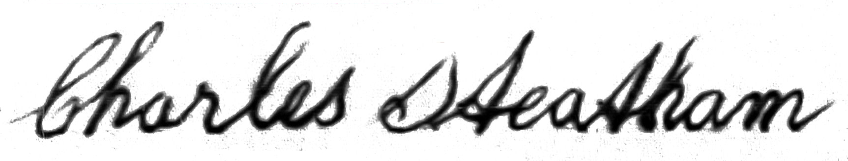 Photo of Charles Steatham's signature on his first marriage
