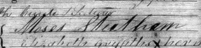 Photo of Moses Steatham's signature (1813-1891)